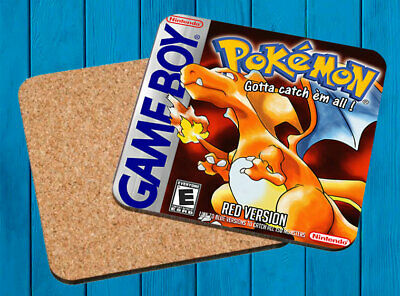 Pokemon Red Rojo Nintendo Game Boy Posavasos Madera Wooden Coasters