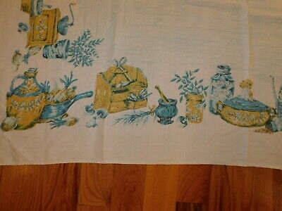 Rooster Tablecloth Vintage Mid Century Gold and Blue 57 x 82 Inches