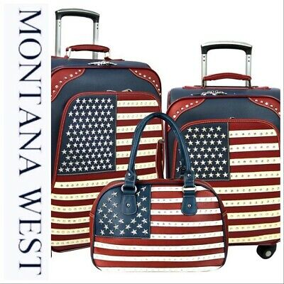 Montana West American Pride USA 🇺🇸 Collection 3 PC Luggage Set-Navy Blue