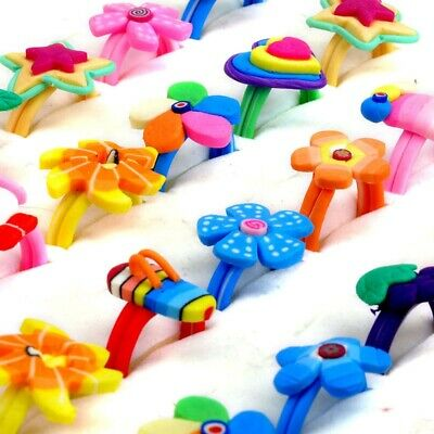 50/30Pcs Mixed Flowers Polymer Clay Bulk Rings Child Kids Finger Bands Jewelry