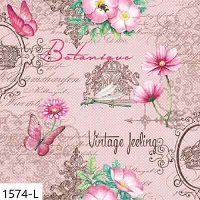 TWO New Paper Luncheon Decoupage Napkins - VINTAGE, BUTTERFLY, FLOWERS, (1574)