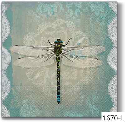 TWO New Paper Luncheon Decoupage Napkins - DRAGONFLY, DRAGONFLIES (1670)