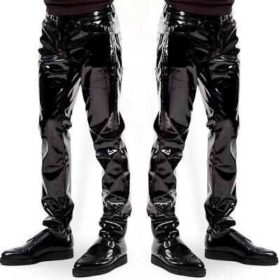 Herren Lacklederhose Hosen Glänzends Cocktail Punk Wetlook Fitness Pants