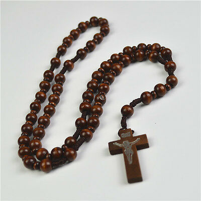 Dark Brown Rope Round Wooden Beads Religious Christian Rosary With Cross