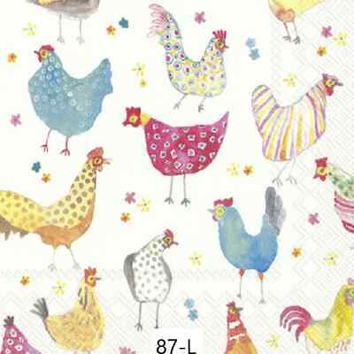TWO New Paper Luncheon Decoupage Napkins - CHICKENS, HENS, ROOSTERS, FLOWER (87)