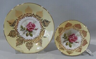 Vintage 1960s PARAGON LARGE PINK ROSE on PALE YELLOW CUP & SAUCER Gold Filigree