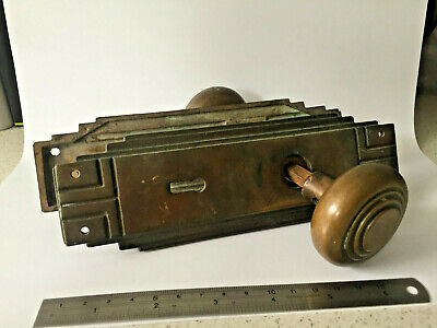 Vintage Art Deco Door Handle. Cast Brass, Heavy (1kg).  Look!