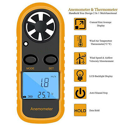 Digital LCD Anemometer Wind Speed Air Flow Meter Temperature Gauge Thermometer