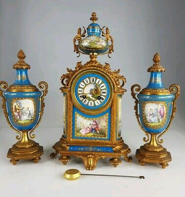 Beautiful mid 19thc eight day French Clock Garniture