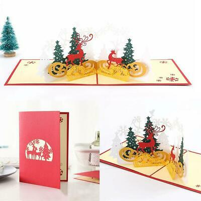 3D Greeting Cards Hollow Engraving Christmas Handmade Postcard Xmas Gift Card