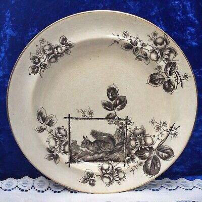 Antique Burgess & Leigh Aesthetic Movement, Squirrel 'NUTS' 10.5'' Plate c1880
