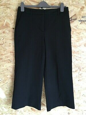 NEXT Ladies Cropped Culottes Black Tailored Trousers UK12 Smart Office Work BNWT