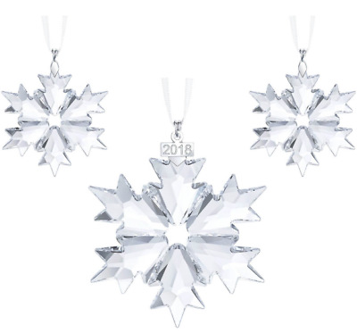 Swarovski Crystal Snowflake Edition Ornament Set 2018  1 Large 2 mini
