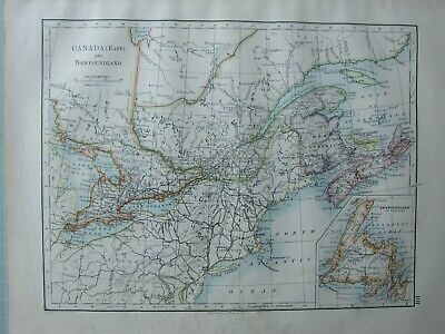 1899 Victorian Map ~ Canada East & Newfoundland Nova Scotia New Brunswick