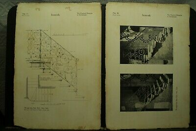 antique vintage old Architectural prints wrought iron stair rail Orta Italy