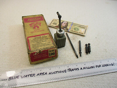 LUFKIN # 100 Miti Mite Magnetic Base and Accessories, OEM Box, Mighty Might, GC