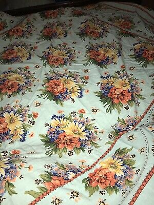 April Cornell Teal Pink Red FLORAL Cotton TABLECLOTH Aqua Blue Cottage Square 70