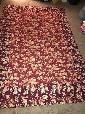 """April Cornell Burgundy Red FLORAL Cotton 107"""" LONG TABLECLOTH Cottage Shabby NEW"""