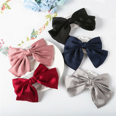 Sweet Satin Chiffon Printed Large Double-layer Bow Hair Clip Barrettes Hairpin