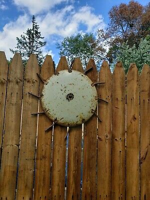 VINTAGE CULTIVATOR WHEEL DECOR FARMHOUSE ROUND SUN Flower Yard Art