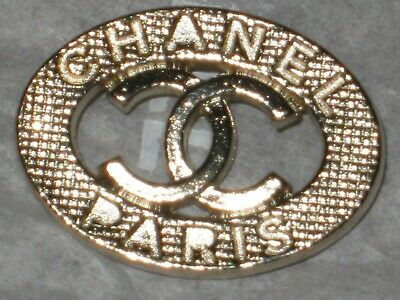 CHANEL  CC LOGO FRONT AUTH MATTE GOLD BUTTON TAG 16 x 12 MM emblem NEW