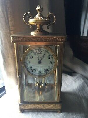Crystal Gilt Brass Regulator Seth Thomas Shelf Clock French Empire Beveled Glass