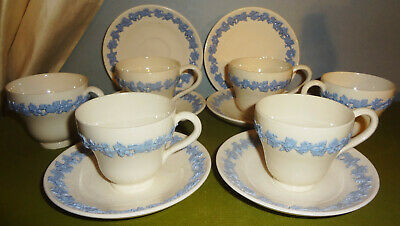 c1935-1938 dated Set/6 ANTIQUE WEDGWOOD lavender on cream DEMI CUPS & SAUCERS