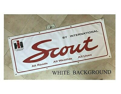 1974 INTERNATIONAL SCOUT II RALLYE ORANGE//BLACK GARAGE SCENE BANNER SIGN 2/' X 5/'