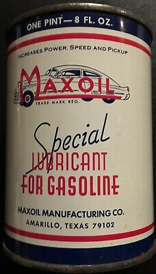 """1960's MAXOIL GASOLINE LUBRICANT FULL CAN """"Gas Station Collectible"""""""