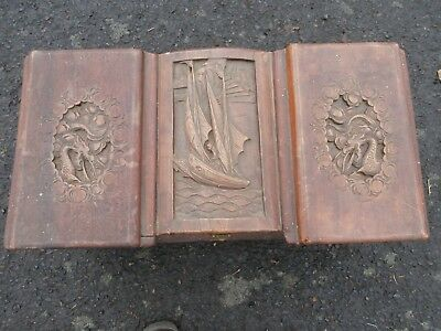 "RARE ANTIQUE HAND CARVED HAND MADE WOOD ASIAN TRUNK 27"" x 14"" x 13"""