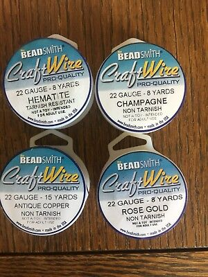Beading Wire, Craft Wire, 22 Gauge, Lot of 4, Bead Smith, Jewelry Making Supply