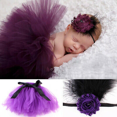 Baby Tutu Skirt and Headband Newborn Photo Props Shoot . 0-3 Months