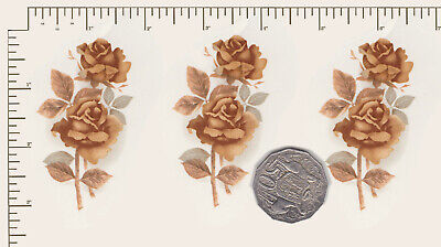 "3 x Waterslide ceramic decals Decoupage Roses spray Approx 3"" x 1 3/4"" PD818"