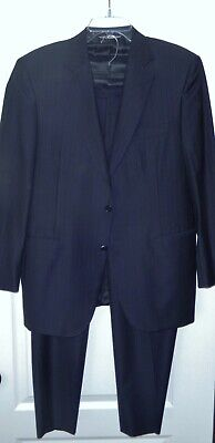 Canali Mens 2-Pc Navy Tonal Pinstripe All-Season Wool Suit  Sz 42R US (52 Italy)