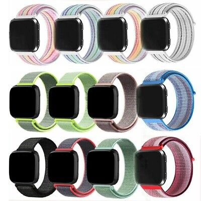 Woven Nylon Loop Sport Watch Band Strap Wristband Best For Fitbit Versa 22MM