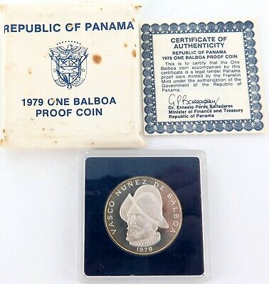 .1979 REPUBLIC of PANAMA STERLING SILVER PROOF 1 BALBOA. FRANKLIN MINT.