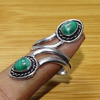 925 Sterling Silver Plated Malachite Ring Jewellery Size 9.5 & Adjustable