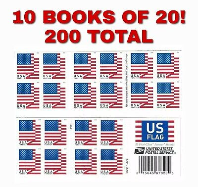 10 X US Forever Flag Stamps 2018 USPS Books Of 20 US First Class Postage = 200!