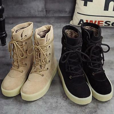 Womens High Top Lace Up Punk Ankle Combat Military Boots Shoes Chunky Hotsale JJ