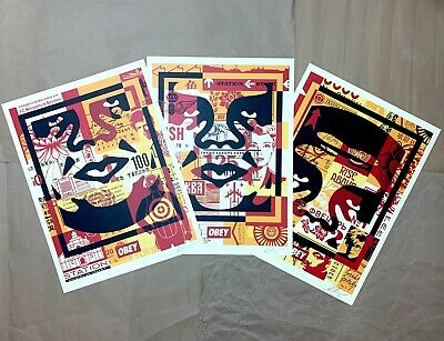 """SIGNED Shepard Fairey OBEY FACE COLLAGE /""""BOTTOM/"""" Print Poster 18X24 david bowie"""