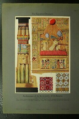 100+ year old antique vintage color print Egyptian Ornament Architecture tombs