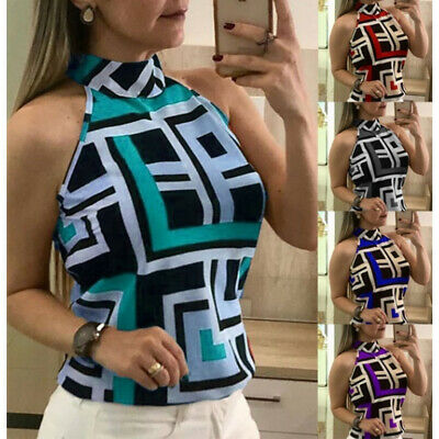 Women Halter Neck Sleeveless Floral Printed Tops T-Shirt Summer Casual Blouse UK