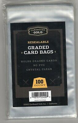 PSA Graded Card Poly Bags 100 Sleeves Cardboard Gold Keep PSA cards scratch free