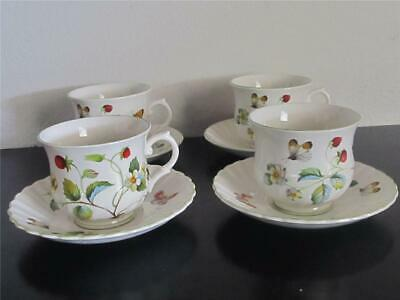 4 Vintage James Kent Old Foley Strawberry Cups & Saucers with Butterflies