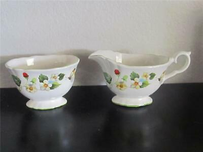 Vintage James Kent Old Foley Strawberry Creamer & Sugar with Butterflies