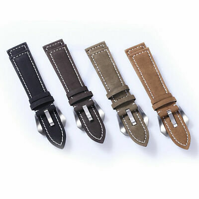 Men Women Watch Band Nubuck Leather Strap Buckle Wristwatch Accessory 18mm-24mm