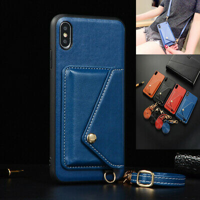 For iPhone XS Max XR X/XS 7/8 Plus Crossbody Card Slot Leather Strap Case Cover