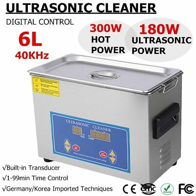 Stainless Steel 6L Liter Industry Heated Ultrasonic Cleaner Heater w/Timer RE