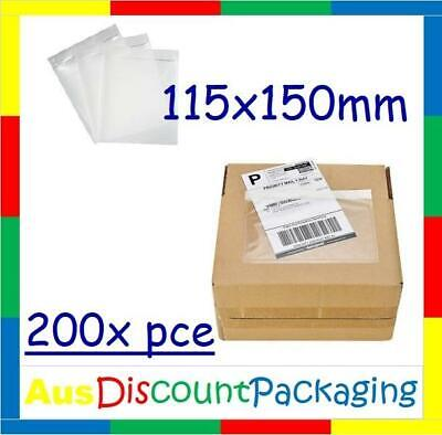 (200x Piece) 115 x 150mm Clear Document Pouch Back Side Self-Adhesive Doculope