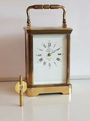 Rare L Epee Striking carriage clock painted panels